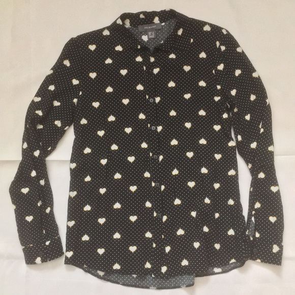 Primark button front shirt Black w/hearts and dots